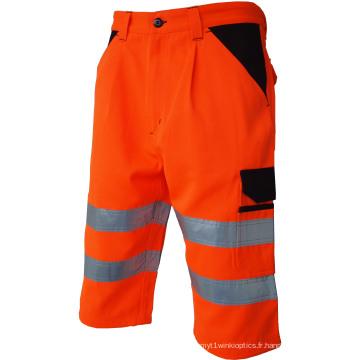 Pantalon court à bande réfléchissante haute visibilité avec poches
