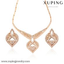 63406 Xuping collar pulsera pendiente dubai conjunto de joyas de oro joyería de chapado en oro africano conjunto al por mayor joyería de fantasía africana