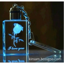 Crystal Gift 3D Laser Engraving Logo Crystal Keychain with Light