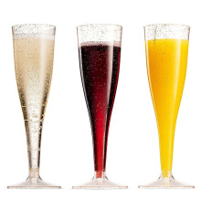Hot Sale 5oz gold glitter plastic champagne flutes PS Disposable Wedding Party Cocktail Cups