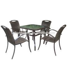 hot design PE rattan outdoor patio furniture metal restaurant dining sets