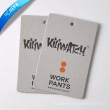 Tag de suspensão de papelão cinza com logotipo de marca personalizada