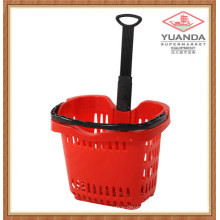 58L Plastic Supermarket Rolling Shopping Basket