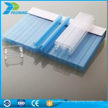 Einfach und schnell zu installieren 10mm 4-Wand geräuchert u-lock Polycarbonat Blatt mit Clips