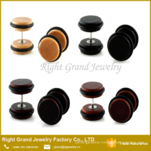 New arrival high quality natural wood fake ear plugs