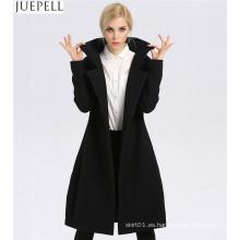 Nuevas mujeres de la sección larga de lana gruesa Escudo Factory Modelos de moda de doble botonadura Mujeres Abrigo de poliéster