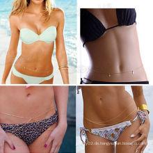 Dame Bikini Gold Sexy Body Crossover Bauch Taille Gürtel Kette Strand Schmuck Quaste