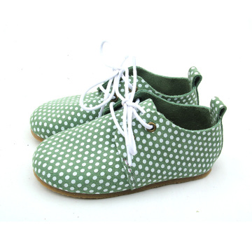 White Dots Rubber Sole Kids Oxford Skor