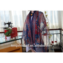 Latest fashionable classic printed oblong scarf shawl and best selling twill chiffon scarf