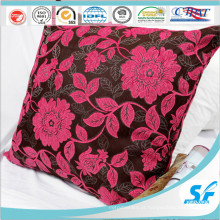 Poliéster rosa bordar almofada para casa cobrir almofada com zíper