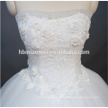 Princess Pure White una línea de piso de longitud de encaje sin tirantes sin tirantes vestido de novia sin espalda con corsé
