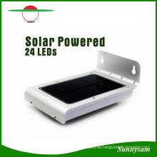 Impermeable al aire libre 24 LED sensor de luz solar Panel Sensor de movimiento PIR LED Lámpara solar 2 modos de luz para patio Jardín pared