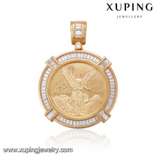 33066 xuping 18k gold plated crystal round pendant, special design gold jewelry coin pendants
