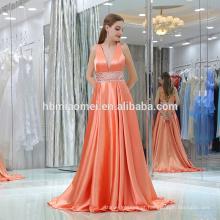 2017 pano de cetim longo o pescoço voltar formal festa de casamento vestidos de festa vestido de noite