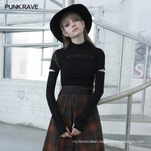 PUNK RAVE OPT-535TCF girls sexy dart series hollow out functional women plus size bodycon logo print T-shirt