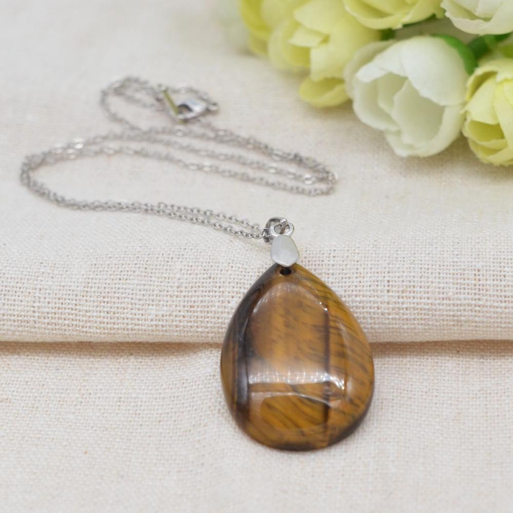 Natural Tiger Eye 28x35MM Waterdrop Pendant Necklace with 45CM Silver Chain