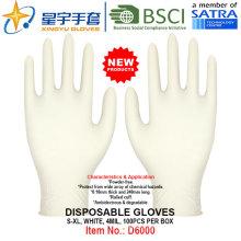 Blanco, guantes de nitrilo desechables, 100 / caja (S, M, L, XL) con CE. Guantes de Examen