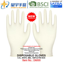 White Color, Powder-Free, Disposable Nitrile Gloves, 100/Box (S, M, L, XL) with CE. Exam Gloves