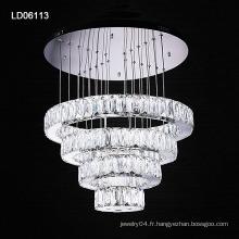 lustre en acier inoxydable moderne anneaux lustres en cristal