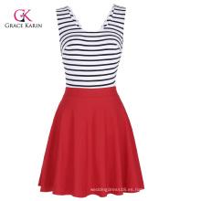 Grace Karin mujeres sin mangas con cuello en V ahuecado espalda raya empalme A-Line Dress CL010445-1