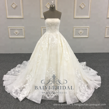 Robe de mariée en satin de haute qualité robe de bal robe de mariée en dentelle robes de mariée 2018