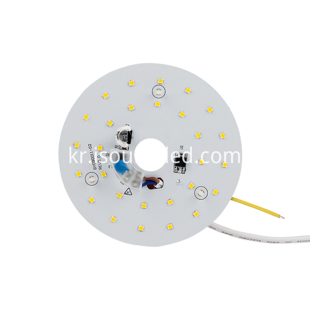 Front view of smd 2835 Warm White 9W AC LED Module