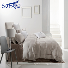 new design Nantong wholesale Grey bedding set 100% cotton embroidery bed sheet set/ hotel bed linen/hotel linen