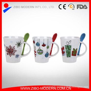 Coffee Mug with Spoon, Ceramic Mug with Spoon in Handle