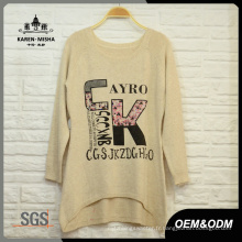 Femmes Loose Letters Pattern Sweater