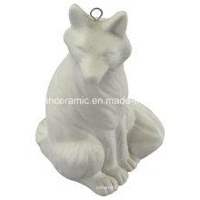 Colgante de cerámica, porcelana Fox regalo colgar accesorios de decoración (6577)
