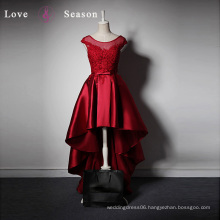 LSQ004 High-end custom O-neck with belt red dress short front long back dress for girls red porm dress