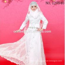 Vestido de boda musulmán islámico de Tulle blanco de la manga larga del applique del cordón del cuello alto