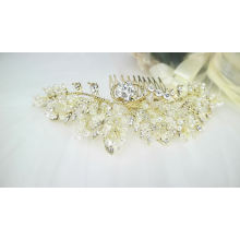 Acessórios para o cabelo de noiva feitos à mão de cristal pérola cocar de cabelo de noiva para mulheres