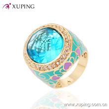 Moda lujo Bigl CZ 18k anillo de dedo de la joyería de imitación de las mujeres chapado en oro -13718