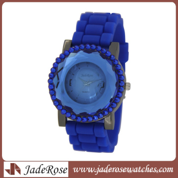 Big Blue Diamond Cut Glass Silicone Strap Ladies Fashion Watch