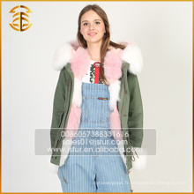 Cheap Price European Style Genuine Raccoon Fox Coat Femmes Winter Fur Parka