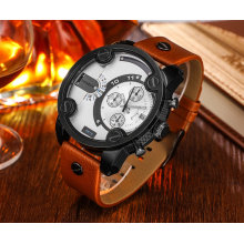 Cagarny 6819 Herren Armbanduhr Quarzwerk Lederband Schwarz Gehäuse