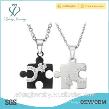 Cheap price lovers jewelry puzzle shape silver and black stainless steel couples necklace