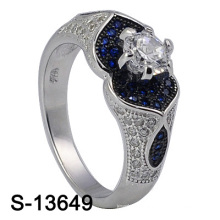 Fashion Jewellery 925 Sterling Silver Women Ring with Blue CZ (S-13649)