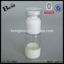 Botella sin aire del dispensador 25/50 / 60ml con la bomba blanca, botella airless plástica de la bomba, botella sin aire de la loción de los cosméticos para la venta
