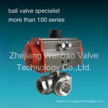 Actuador neumático de acero inoxidable Válvula de bola de 3 vías