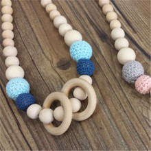 Crochet Silicone Teething Breastfeeding Baby Wearing wooden Necklace