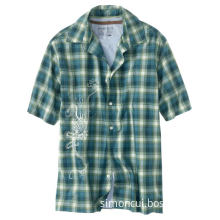 Men's Short Sleeve Check Cotton Embroidery Casual Shirt