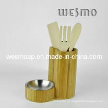 Conjunto de ferramentas de cozinha de bambu carbonizado