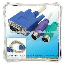 Cable de conmutación KVM, macho a macho Cable de conexión de teclado de ratón PS / 2