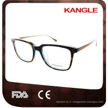 L'homme grande taille Le plus nouveau design vendeur chaud Acétate de mode avec des lunettes optiques de temple de métal et des lunettes d'acétate lunettes