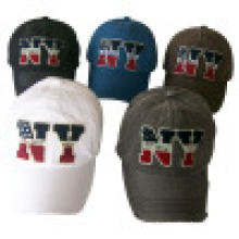6 panel lavado gorra de béisbol con apliques (6PWS1228)