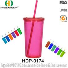 Promocional plástico beber botella, tazas libres BPA con paja (HDP-0174)