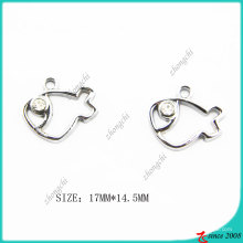 Metal Silver Hollow Fish Charm