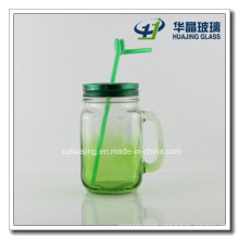 500ml 16oz Mason Glass Jar with Handle and Straw